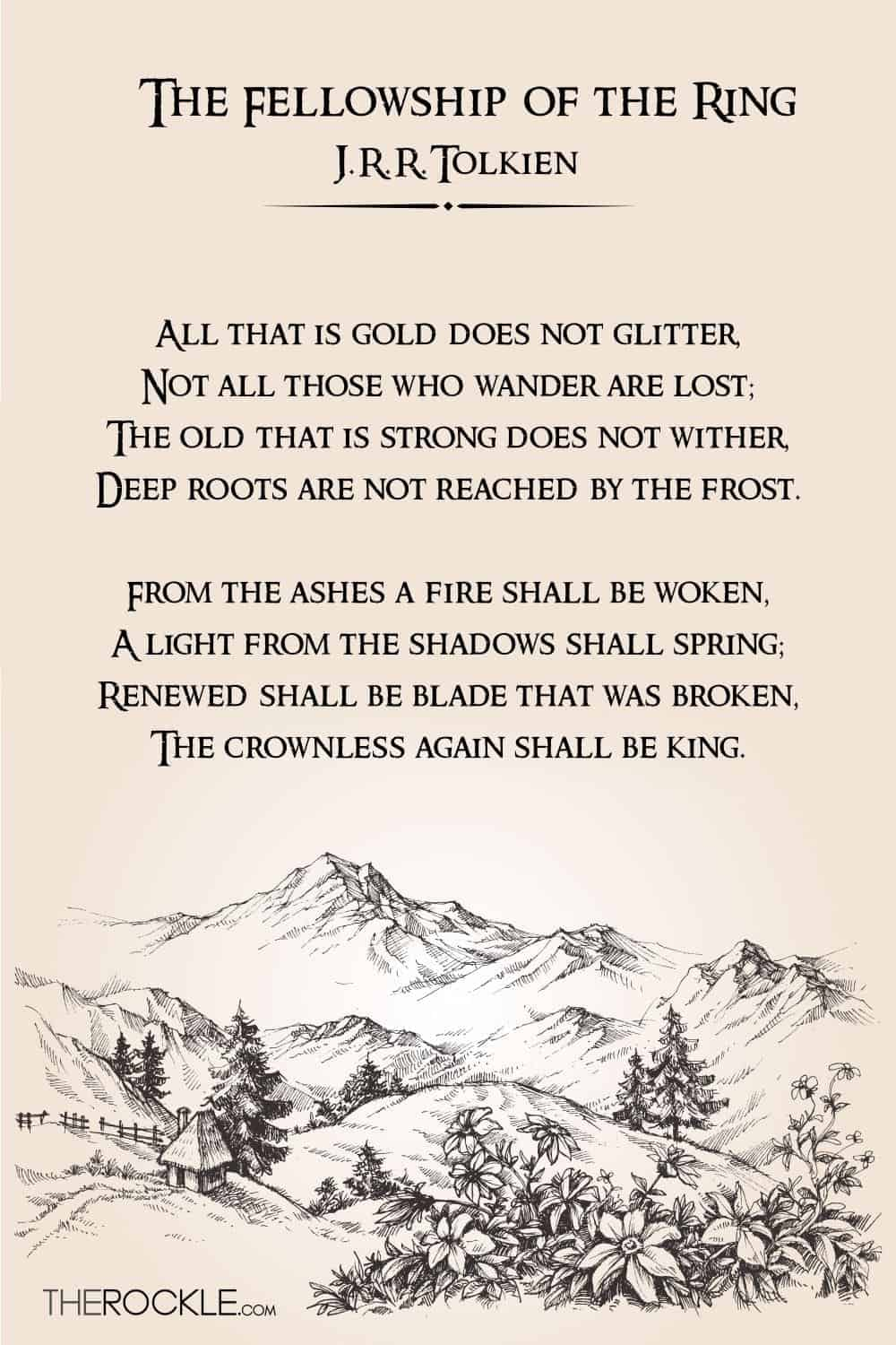 J.R.R. Tolkien best quotes from The Fellowship of the Ring: All that is gold does not glitter, Not all those who wander are lost;